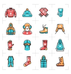 Winter clothes isolated line icons set vector