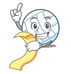 With menu volley ball character cartoon vector