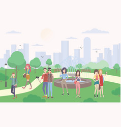 young people with gadgets in the park guys and vector image vector image
