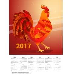 Calendar with a fiery rooster vector