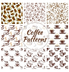 Coffee cup seamless pattern background set vector