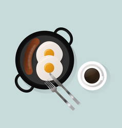 Healthy breakfast scrambled eggs lunch food top vector
