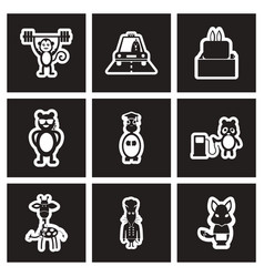 set of black and white icons profession animals vector image