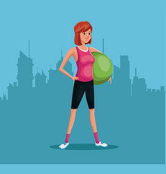 Woman sports training fitball urban background vector