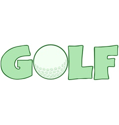 Golf Text With Golf Ball vector image