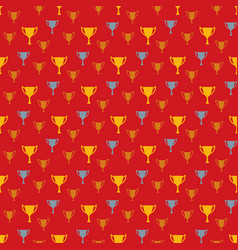 Awards seamless pattern with winner cups vector