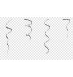 Silver streamers set silver serpentine ribbons vector