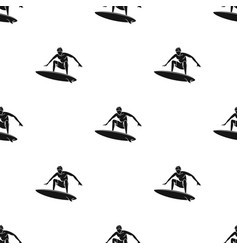 Surfer in action icon in black style isolated on vector
