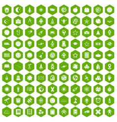 100 astronomy icons hexagon green vector