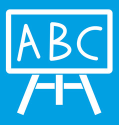 Chalkboard with the leters abc icon white vector