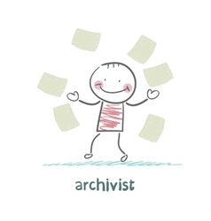 Archivist of paper flying around vector