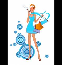 fashion women on the phone vector image