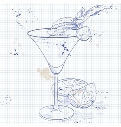Alcoholic cocktail golden dream on a notebook page vector