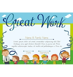 Certificate design with children and teacher vector