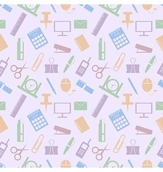 Pattern colorful office supplies vector