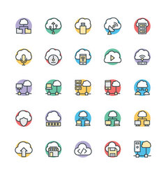 Cloud computing cool icons 3 vector