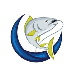 Catching fish emblem vector