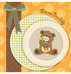 Baby shower card with teddy bear and his toy vector