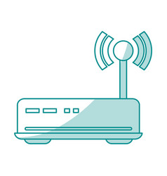 blue shading silhouette of wireless router vector image