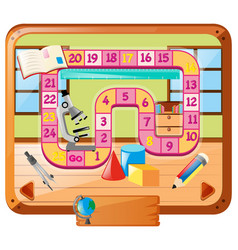 Boardgame template with school objects vector