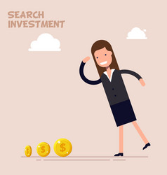 Businessman or manager search of money and vector