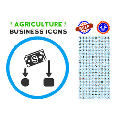 Cash flow rounded icon with set vector
