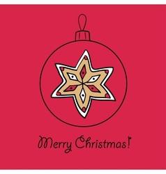 Christmas ball with star vector