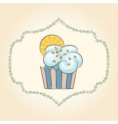 Cupcake with orange slice vector