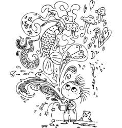 Cute girl with magic box and mermaid vector image vector image