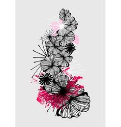 Doodle flower ink pattern vector image