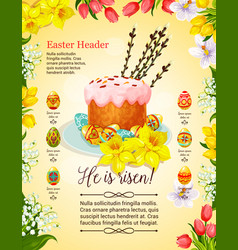 Easter cake and egg poster with flower decoration vector