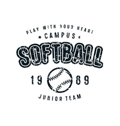 emblem of softball team vector image vector image