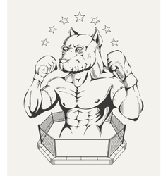 Fighters body with pit bulls head vector