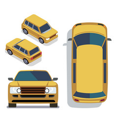 flat-style cars in different views yellow vector image vector image