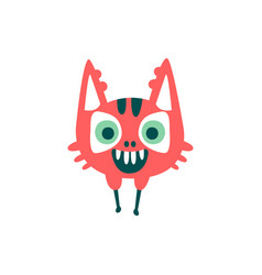 Funny red cartoon monster fabulous incredible vector