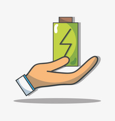 Hand with battery to reduce energy and help the vector