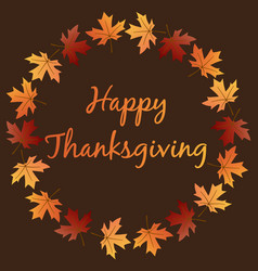 happy thanksgiving with leaf wreath vector image