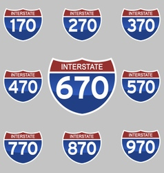 Interstate signs 170-970 vector