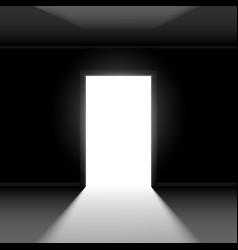 Open door with light on dark empty background vector