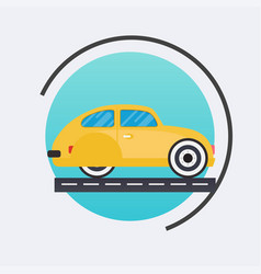 Retro car icon travel concept background flat vector