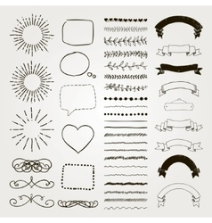 Set of Decorative Hand Drawn Design vector image vector image