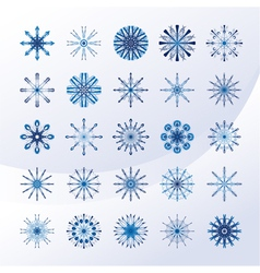 Set of sky blue snowflakes vector image