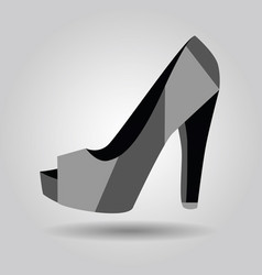 Single women peep toe high heel pattern shoe icon vector