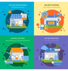Smart house colored icon set vector