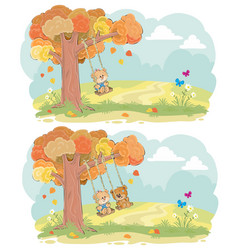 teddy bear on swing autumn concept vector image