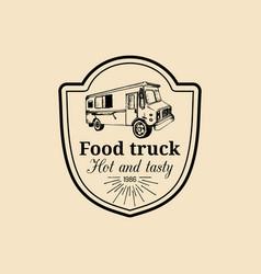 Vintage food truck logo emblem retro hand vector