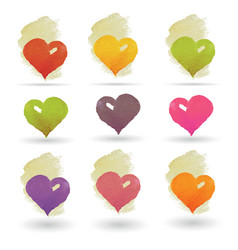watercolor hearts set vector image