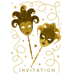 white vertical invitation card with golden masks vector image vector image