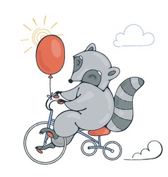 With a cheerful racoon on a bike with balloon vector
