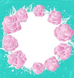 Wreath of pink roses flowers on green background vector
